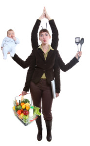 mom with multiple arms doing all the jobs