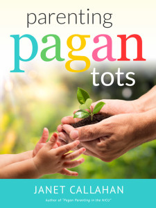 Parenting Pagan Tots cover - adult hands hold a seedling and are handing it to a small child