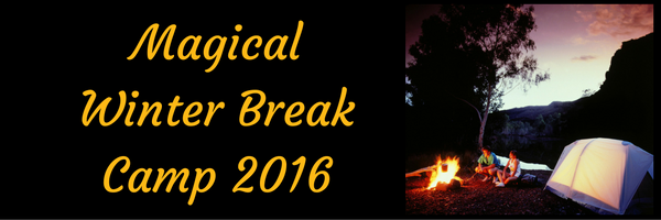 Magical Winter Break Camp 2016 with tent and people sitting around a campfire