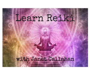 Psychedelic background with a person seated cross legged, meditating. Text: Learn Reiki with Janet Callahan