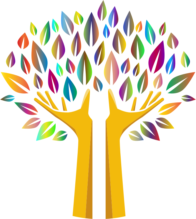 abstract tree design with arms as the trunk, fingers as the branches, and multi-colored leaves