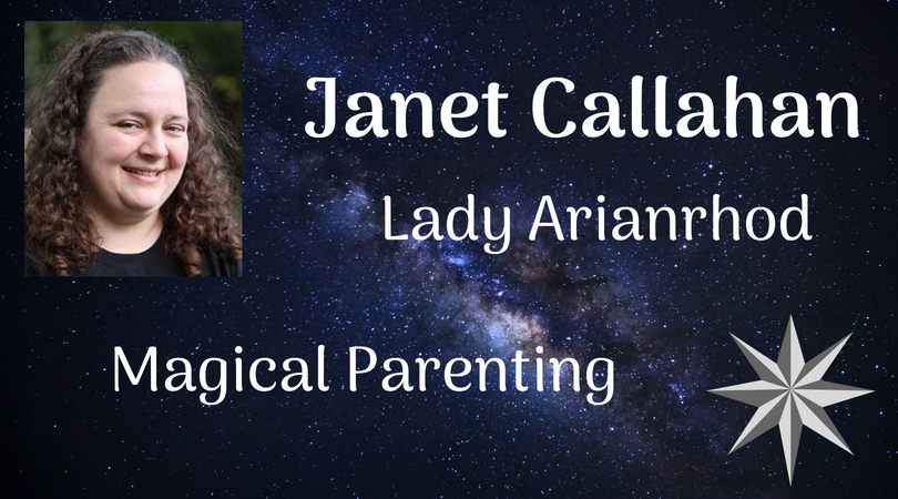 Janet Callahan - Lady Arianrhod - Magical Parenting. Has the Milky Way in the background and an 8 pointed silver star
